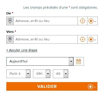"""Capture d'écran, formulaire de recherche d'itinéraire se terminant par un bouton """"Valider"""""""