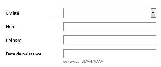 Capture d'écran d'un formulaire de 4 champs, la distance entre les étiquettes et les champs varie de 70 à 140 pixels (selon la longueur de l'étiquette)