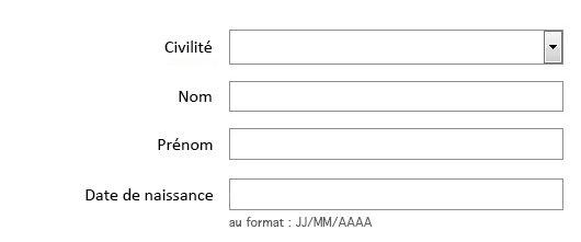 Même formulaire, les étiquettes sont alignées à droite, elles sont toutes à environ 10 pixels de leur champs respectifs.