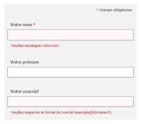 """Capture d'un formulaire, champ """"Votre nom"""" suivi de la mention """"Veuillez renseigner votre nom"""", champ """"Votre courriel"""" suivi de la mention """"Veuillez respecter le format du couriel (exemple@domaine.fr)"""""""