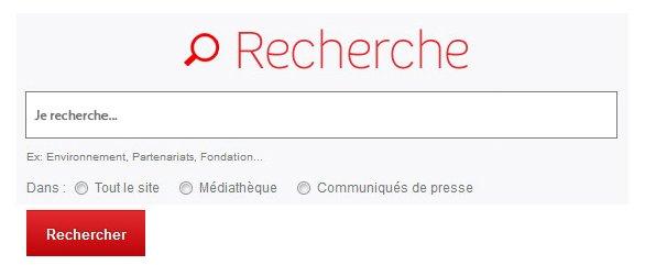 """Capture d'écran, champ de recherche et des boutons radio """"Tous les site"""", """"Médiathèque"""", """"Communiqués de presse"""" pour limiter le périmètre de la recherche"""