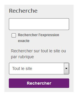 """Capture d'écran, champ de recherche, une case a cocher """"Rercherche l'expression exacte"""", et un menu déroulant """"Recherche sur tout le site ou par rubrique"""""""