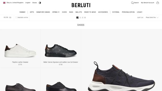 Screenshot, homepage of the Berluti website displayed on a computer screen.