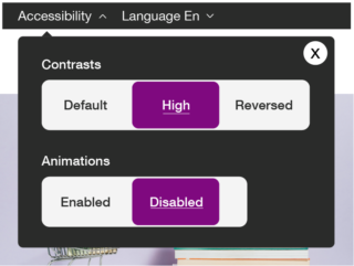 """Screenshot of an """"Accessibility"""" panel in the banner of a website, it allows you to choose the level of contrast (""""Default"""", """"High"""" or """"Reversed"""") and the state of the animations (""""Enabled"""" or """"Disabled"""")."""