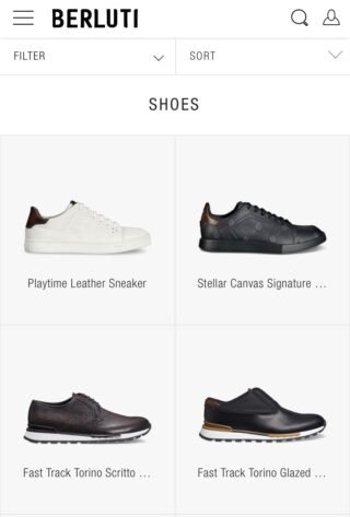 Screenshot, homepage of the Berluti website displayed on a mobile screen, contents are reorganized according to screen size.