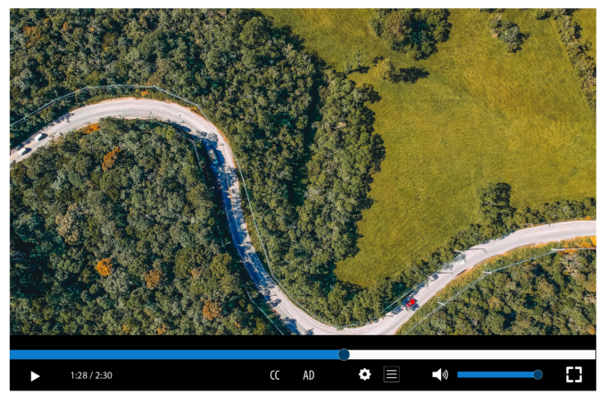 """Screenshot of a video player with a """"Play/Pause"""", a """"Stop"""", a """"Sound on/off"""" buttons, and a progression bar (labelled 1:28 out of 2:30)."""
