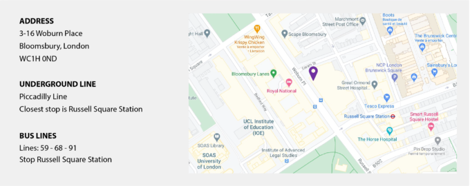 Screenshot of a Google Map, next to the map the address, the subway station and the nearest bus stops are displayed in text.