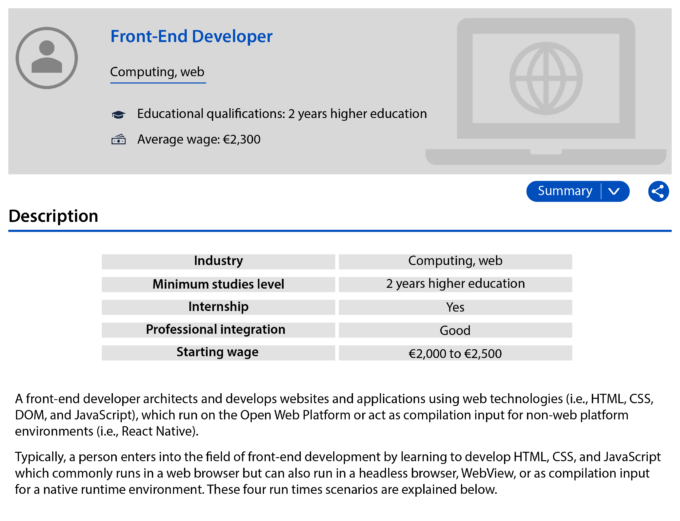 "Screenshot, job description for a ""Frond end developer"", displayed on a computer screen with a ""Summary"" button, a summary table (listing the sector of activity, the minimum level of education, the starting wage, etc.) and a description."