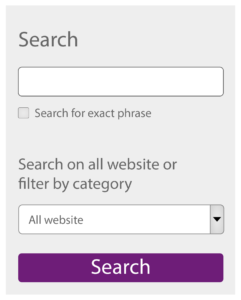 """Screenshot, search field, a checkbox """"Search for exact phrase"""", and a select list """"Search on all website or filter by category""""."""