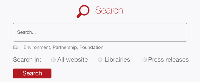 """Screenshot, search field and radio buttons """"All website"""", """"Libraries"""", """"Press releases"""" to limit the scope of the search"""